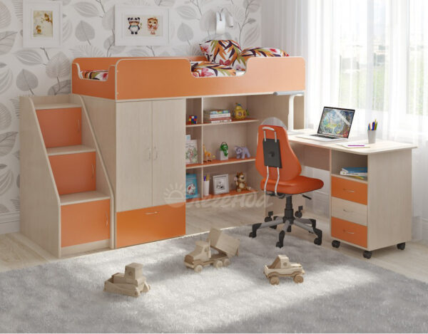 Кровать чердак Легенда 3.14 венге светлый - оранжевый