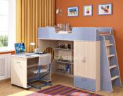 Кровать чердак Легенда 3.2 венге светлый-голубой лён