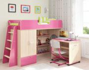 Кровать чердак Легенда 3.2 венге светлый-розовый