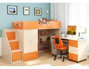 Кровать чердак Легенда 3.3 венге светлый-оранжевый