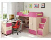 Кровать чердак Легенда 3.3 венге светлый-розовый
