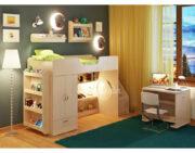 Кровать чердак Легенда 3.6 с полками венге светлый