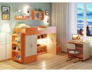 Кровать чердак Легенда 3.6 с полками венге светлый-оранжевый