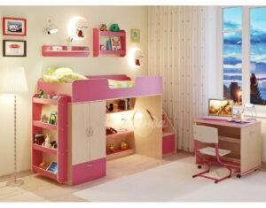 Кровать чердак Легенда 3.6 с полками венге светлый-розовый