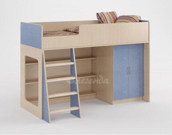 Кровать чердак Легенда 36 голубой лён