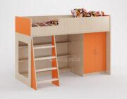 Кровать чердак Легенда 36 венге светлый - оранжевый
