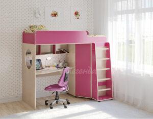 Кровать чердак Легенда 4.1 венге светлый-розовый