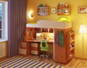 Кровать чердак Легенда 4.3 с полками ольха-венге светлый