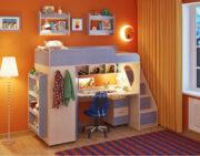 Кровать чердак Легенда 4.3 с полками венге светлый-голубой лён