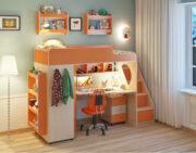 Кровать чердак Легенда 4.3 с полками венге светлый-оранжевый