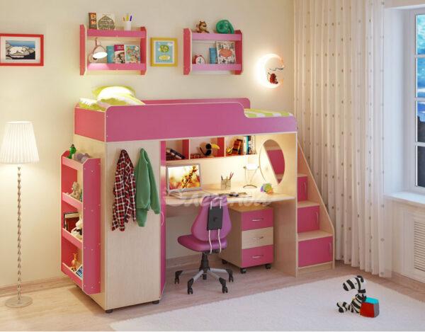 Кровать чердак Легенда 4.3 с полками венге светлый-розовый