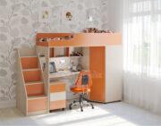 Кровать чердак Легенда 4.3 венге светлый-оранжевый