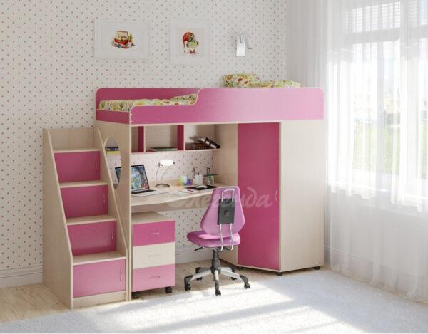 Кровать чердак Легенда 4.3 венге светлый-розовый