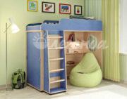 Кровать чердак Легенда 5.1 венге светлый-голубой лён
