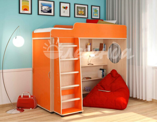 Кровать чердак Легенда 5.1 венге светлый-оранжевый