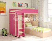 Кровать чердак Легенда 5.1 венге светлый-розовый