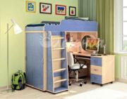 Кровать чердак Легенда 5.2 голубой лён