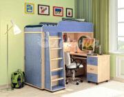 Кровать чердак Легенда 5.2 венге светлый-голубой лён