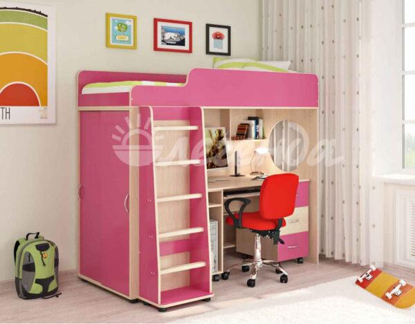 Кровать чердак Легенда 5.2 венге светлый-розовый