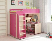 Кровать чердак Легенда 5.6 венге светлый-розовый