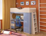Кровать чердак Легенда 9.2 венге светлый-голубой лён