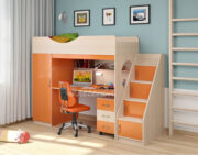 Кровать чердак Легенда 9.3 венге светлый-оранжевый