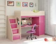 Кровать чердак Легенда 9.3 венге светлый-розовый
