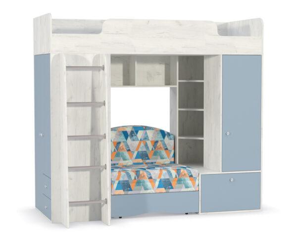 Кровать-чердак с диван кроватью тетрис 366 капри синий