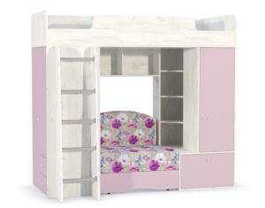 Кровать-чердак с диван кроватью тетрис 366