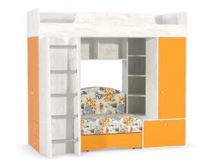Кровать-чердак с диван кроватью тетрис 366 оранжевый