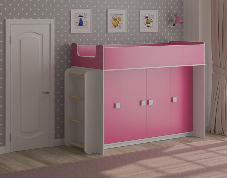 Кровать чердак Легенда 43.5.2 розовый